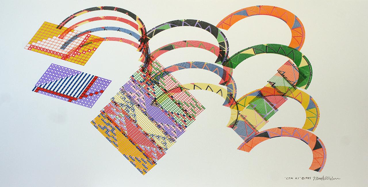 Mark Wilson, CTM K1, Plotterzeichnung, 50 x 96 cm, 1985