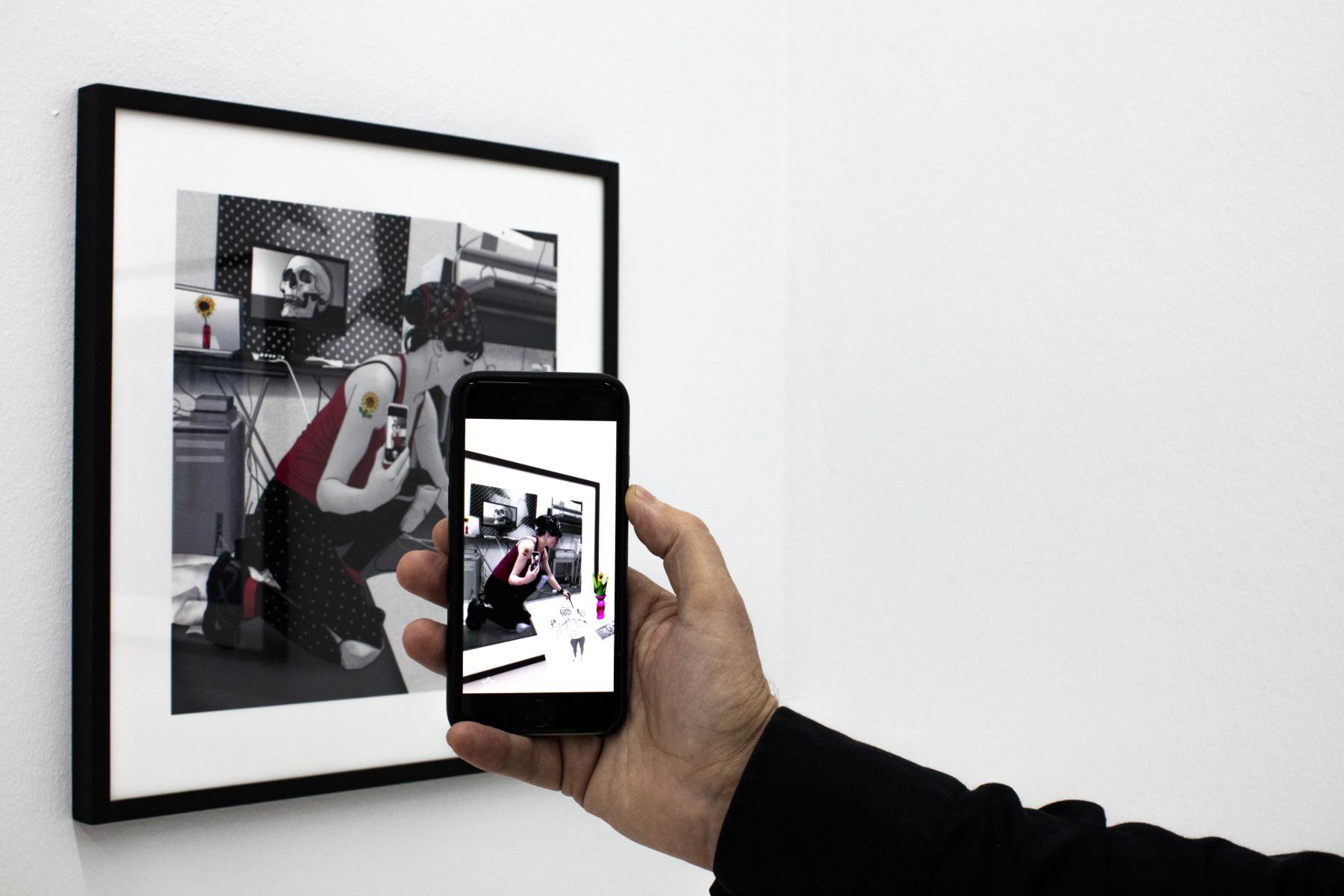 Carla Gannis, Selfie Drawing 23, Fine Art Print & Augmented Reality, 40 x 40 cm, 2015
