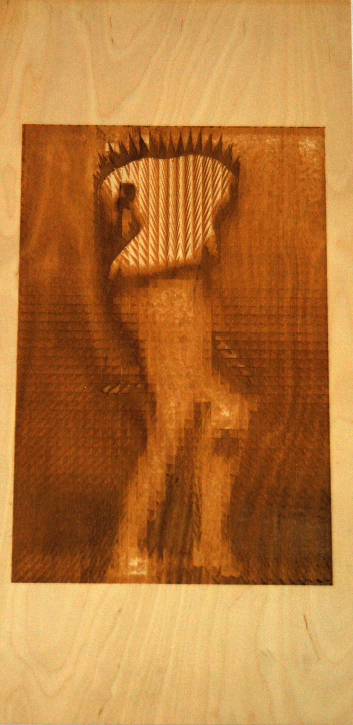 Patrick Lichty, Nudes 1, Birke, Laser-Gravur, 61 x 30 cm, 1997 - 2005