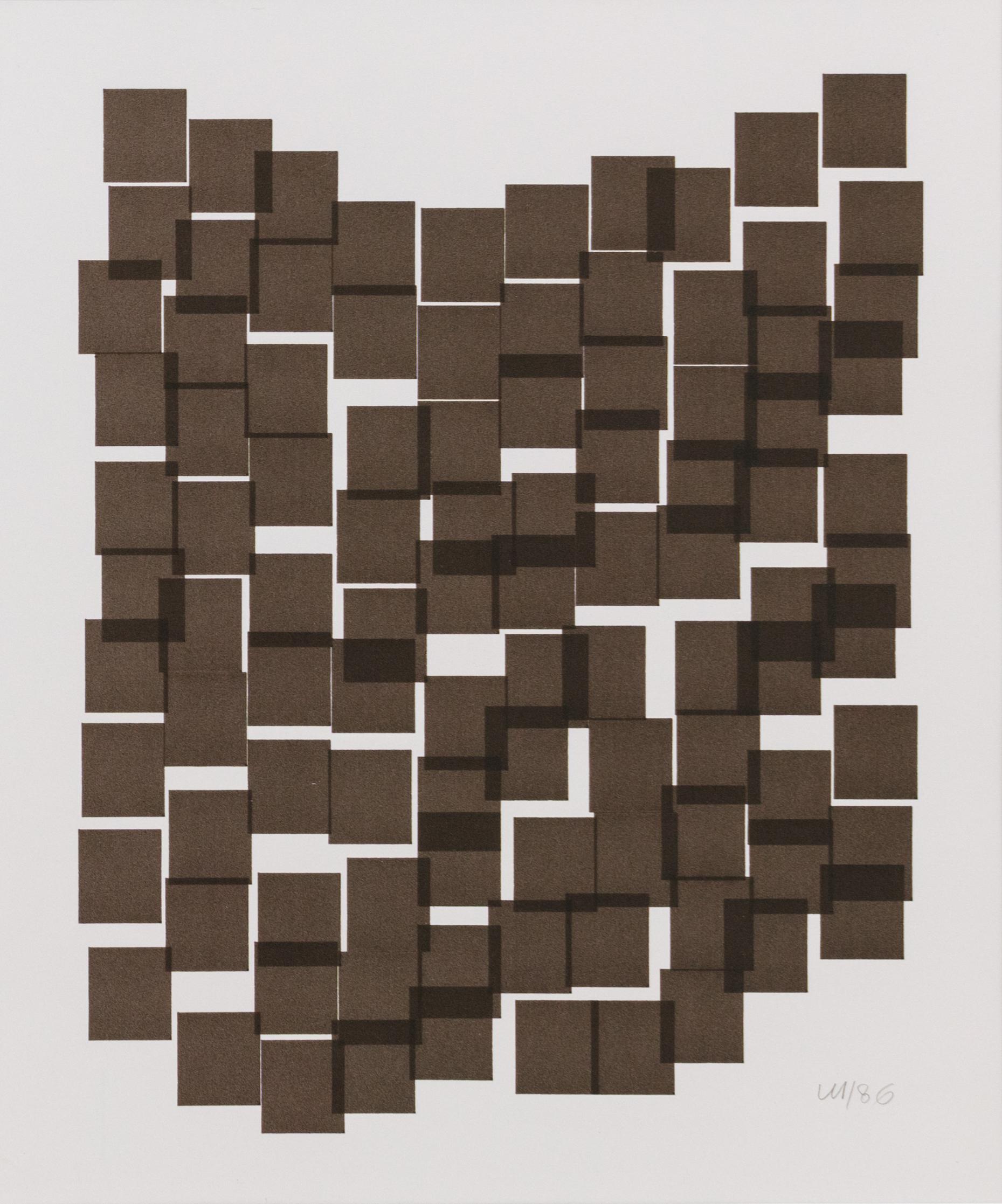 Vera Molnar, 100 Carrés, Plotterzeichnung, Tinte auf Papier, 27 x 22 cm, 1986