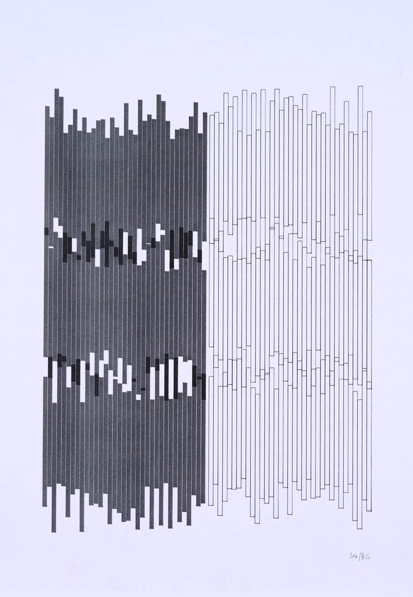 Vera Molnar, Series Gothique, plotter drawing, ink on paper, 38 cm x 29 cm, 1986