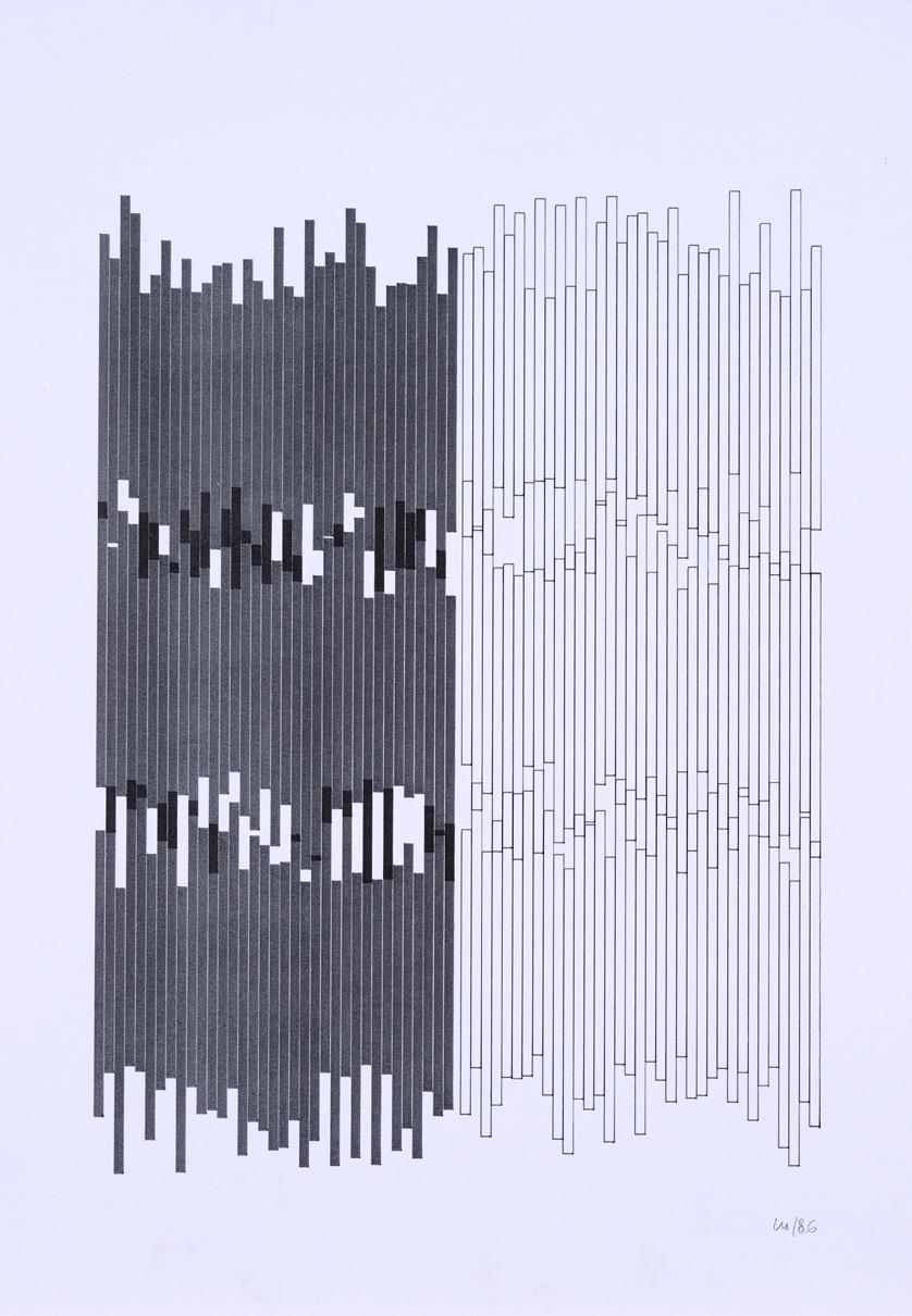 Vera Molnar, Serie Gothique, Plotterzeichnung, Tinte auf Papier, 38 x 29 cm, 1986
