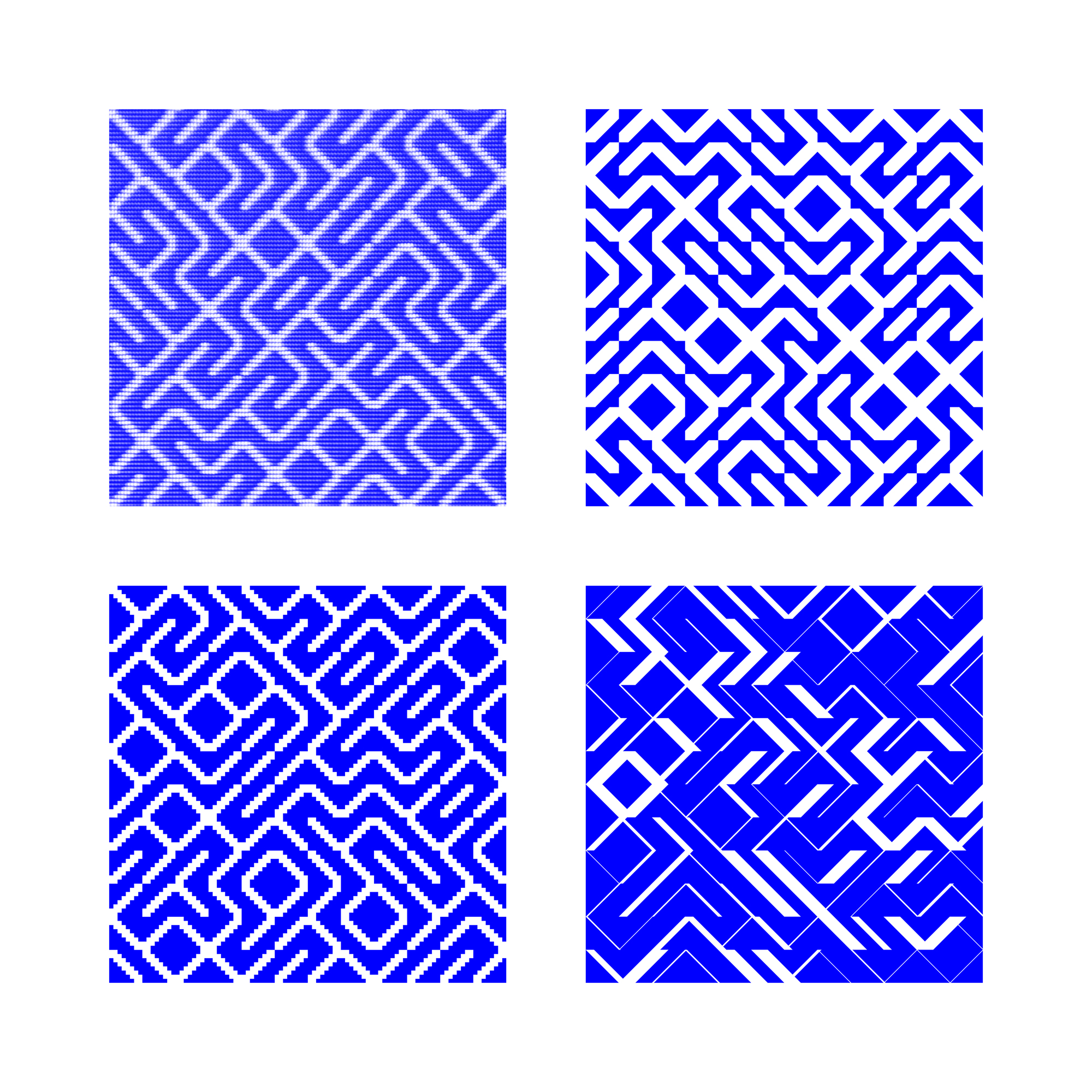 Casey Reas, YesNo (group 1), series of 4 C-prints on dibond, 40 x 40 cm each, 2012