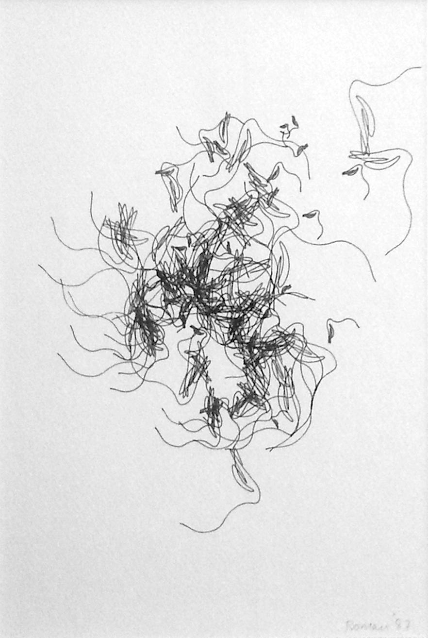 Roman Verostko, Ohne Titel, Plotterzeichnung, 24 x 17 cm, 1987