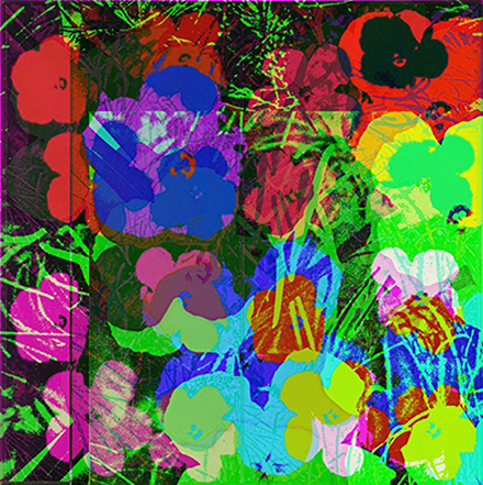 Cornelia Sollfrank, anonymous-warhol_flowers_2_18.51.36_2015, Edition: 4-er Serie, 1 Druck pro Motiv, Digitaldruck auf Alu Dibond, 70 cm x 70 cm, 2015