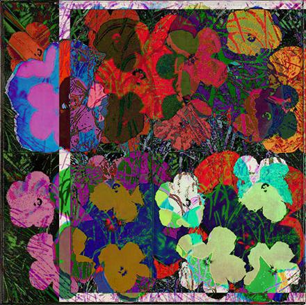 Cornelia Sollfrank, anonymous-warhol_flowers_2_18.59.22_2015, Edition: 4-er Serie, 1 Druck pro Motiv, Digitaldruck auf Alu Dibond, 70 cm x 70 cm, 2015