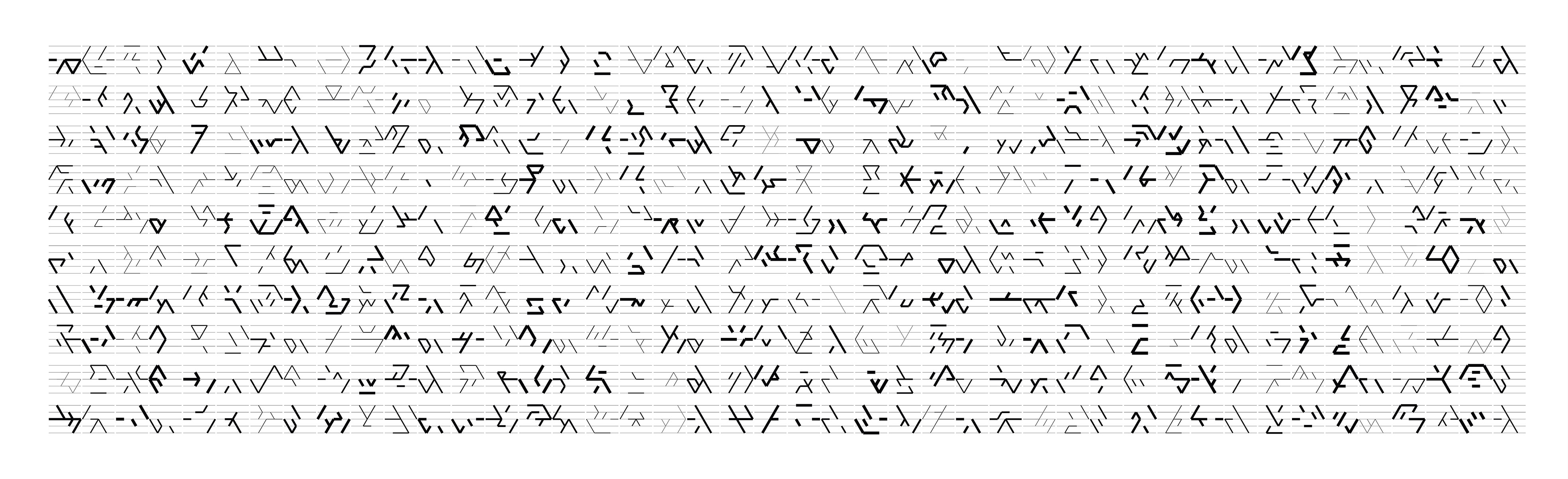 Manfred Mohr, P2400-299_367_large_2, Inkjet auf Papier, 91,5 x 276 cm, 2018
