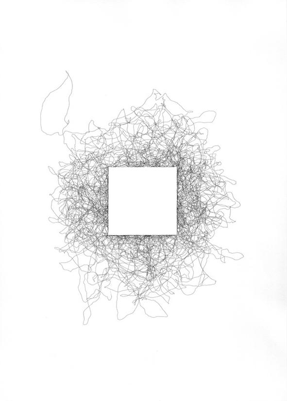 Antoine Schmitt, Carre Blanc, Plotterzeichnung, 29,7 cm x 21 cm, 2015