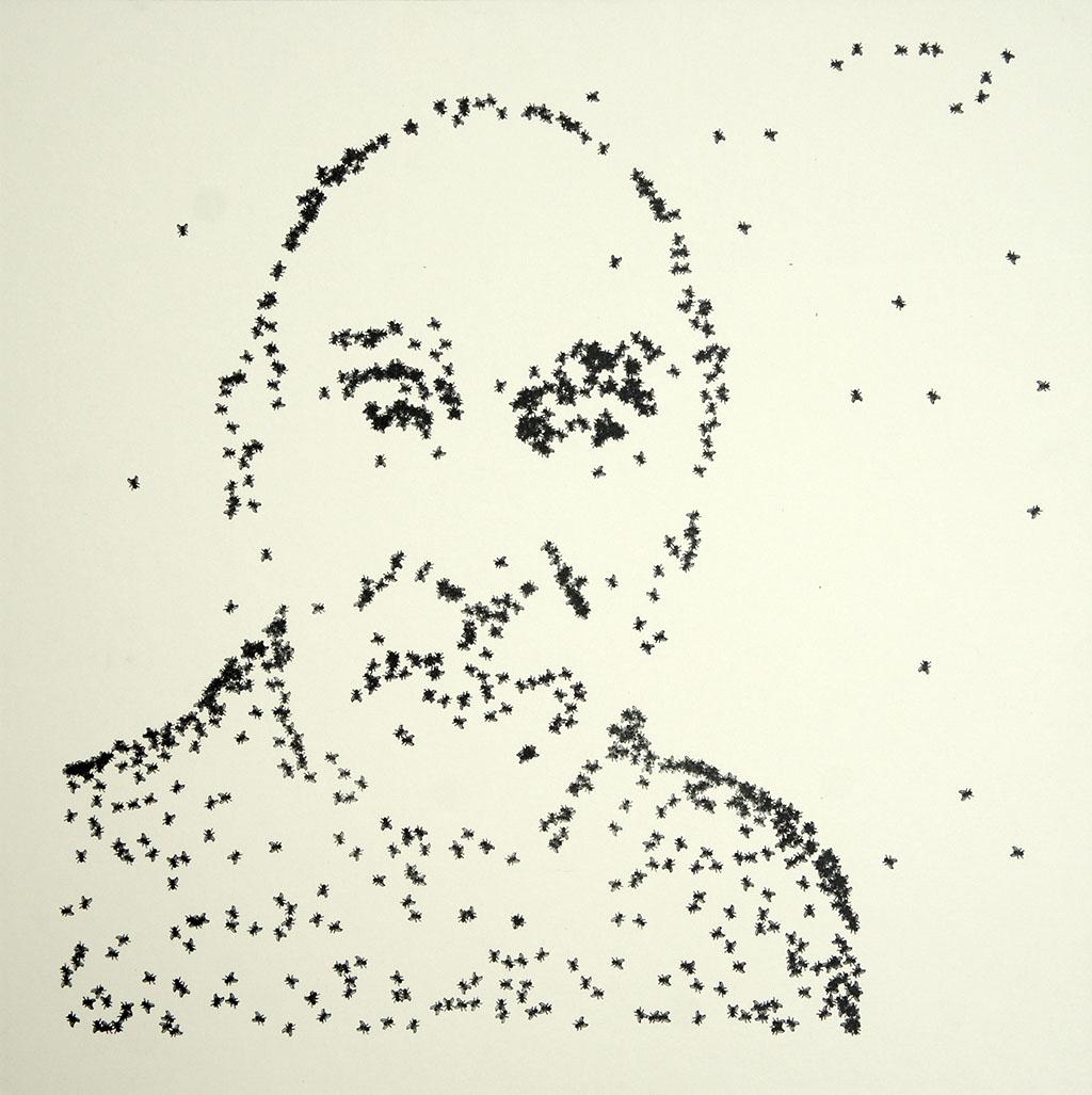 "Sommerer & Mignonneau, Portraitserie ""On the Fly"", Frieder Nake, 40 x 40 cm, 2015"