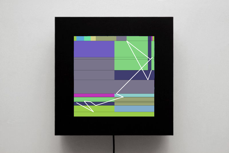 Manfred Mohr, P1622-F, LCD screen + Mac Mini + software, 45 x 45 x 11 cm, 2012