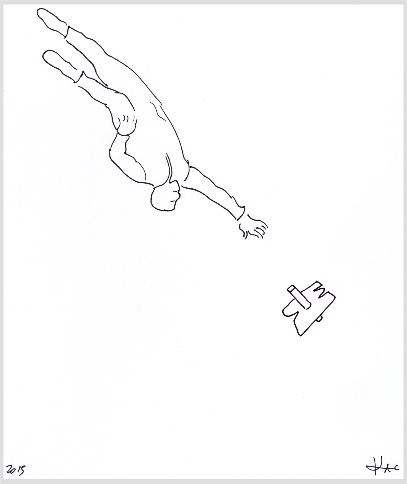 Eduardo Kac, Performance for one astronaut, Inner Telescope series, schwarze Tinte auf Hammermill Papier, 21,6 x 27,9 cm, 2015
