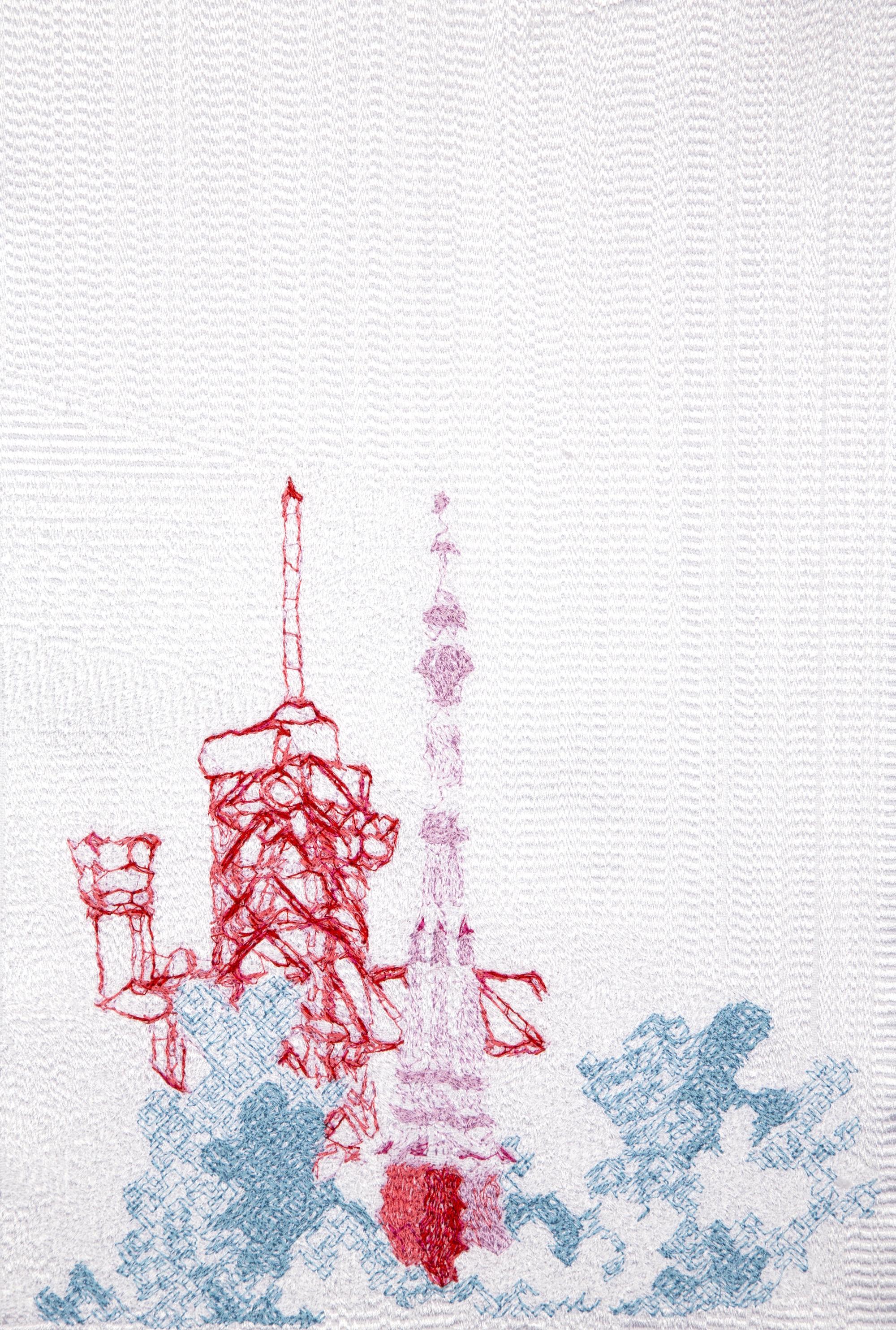 Eduardo Kac, Space Poetry 1, Inner Telescope series, Faden auf Leinen, 22,8 x 33 cm, Auflage 3 Stück, 2017
