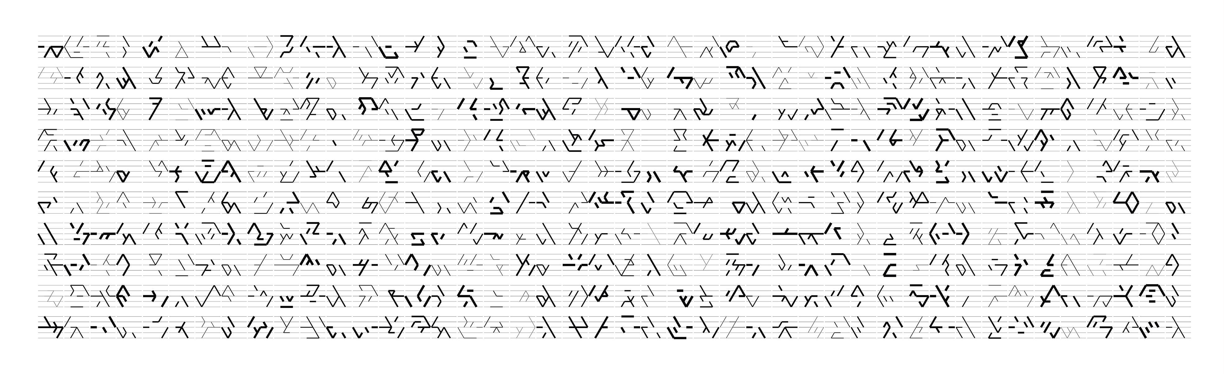 Manfred Mohr, P2400-299, Pigment Tinte auf Papier, 91,5 x 276 cm, 2018