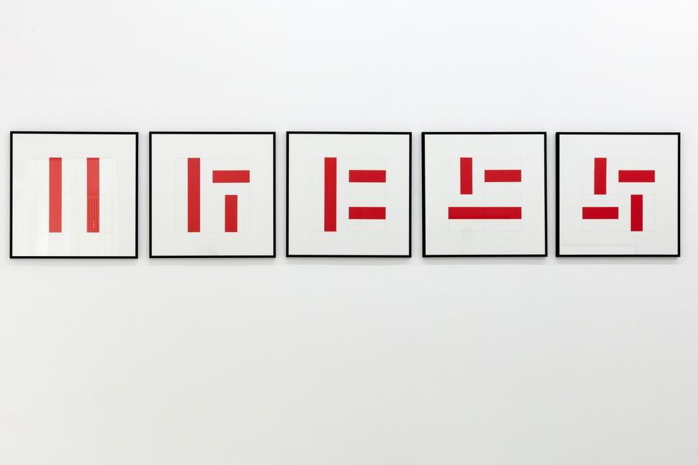 Vera Molnar, Int/Cont, 5 Arbeiten je 50 × 50 cm, Acryl auf Papier, 1996