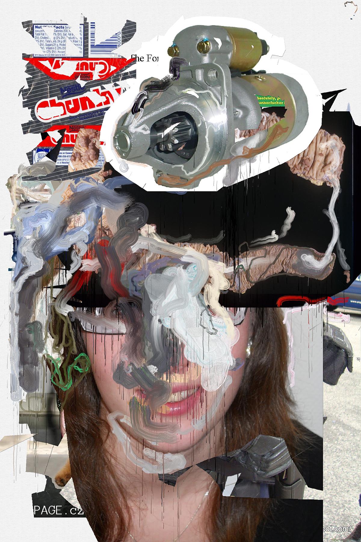 Siebren Versteeg, Split Open And Melt, algorithmisch generiertes Bild auf Leinwand gedruckt, Epoxydharz, 200 x 150 cm, 2017