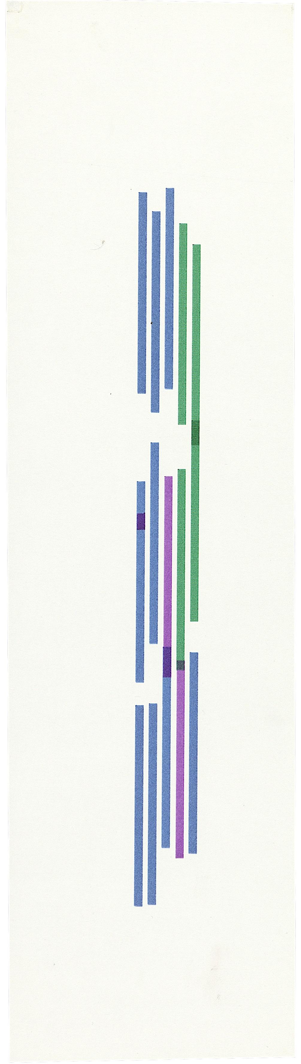 Vera Molnar, Serie Gothique, Plotterzeichnung, Tinte auf Papier, 30 x 9 cm, 1990