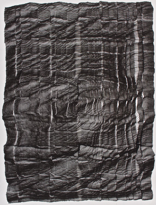 Jean-Pierre Hébert, Shattered II, Plotterzeichnung, 38 cm x 27 cm, 2001