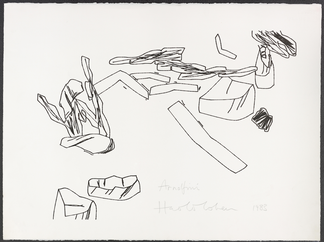 Harold Cohen, Untitled, Plotter drawing, ink on paper, 57 × 76 cm, 1983