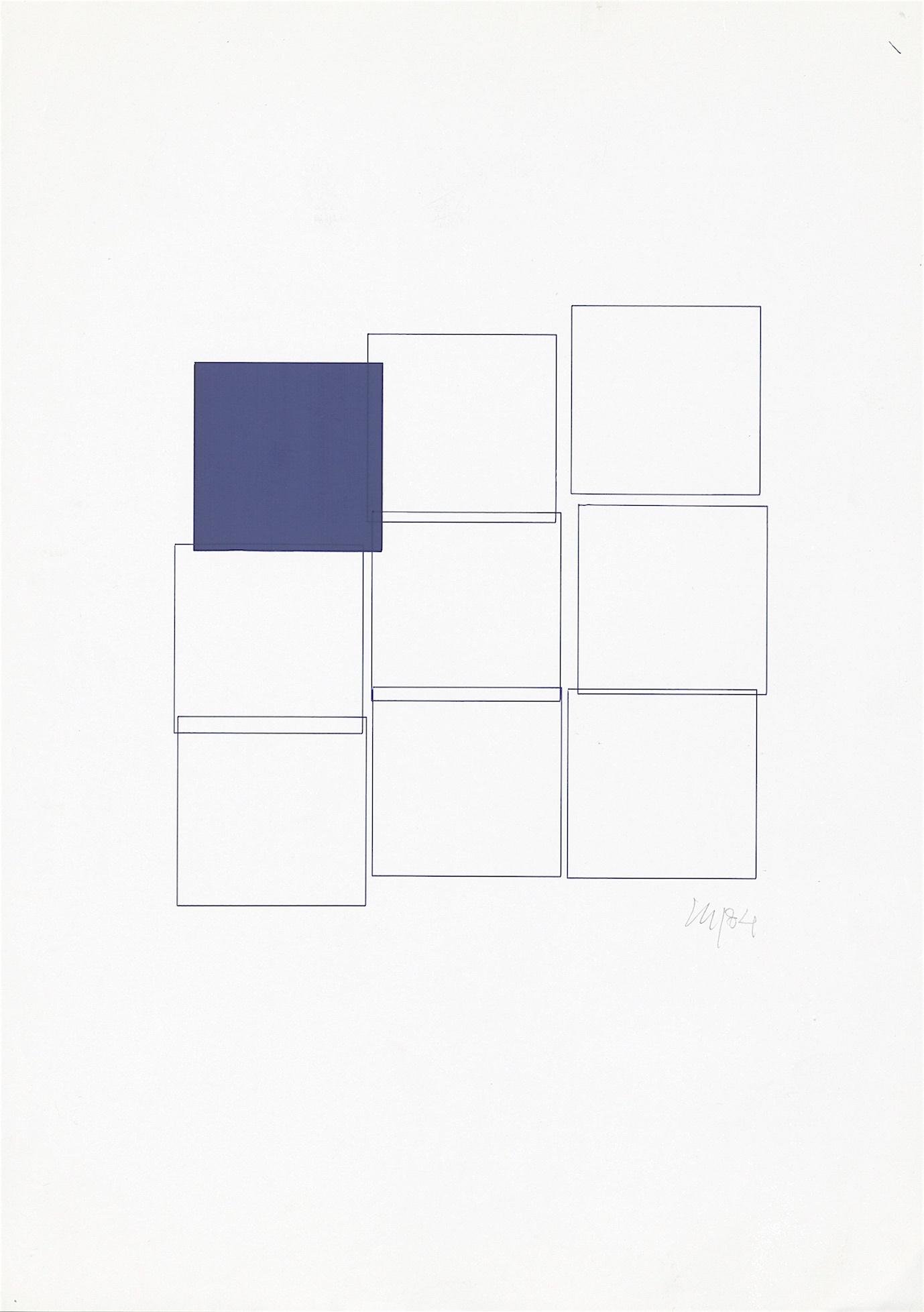 Vera Molnar, Ohne Titel, Plotterzeichnung, 25 cm x 25 cm, 1984