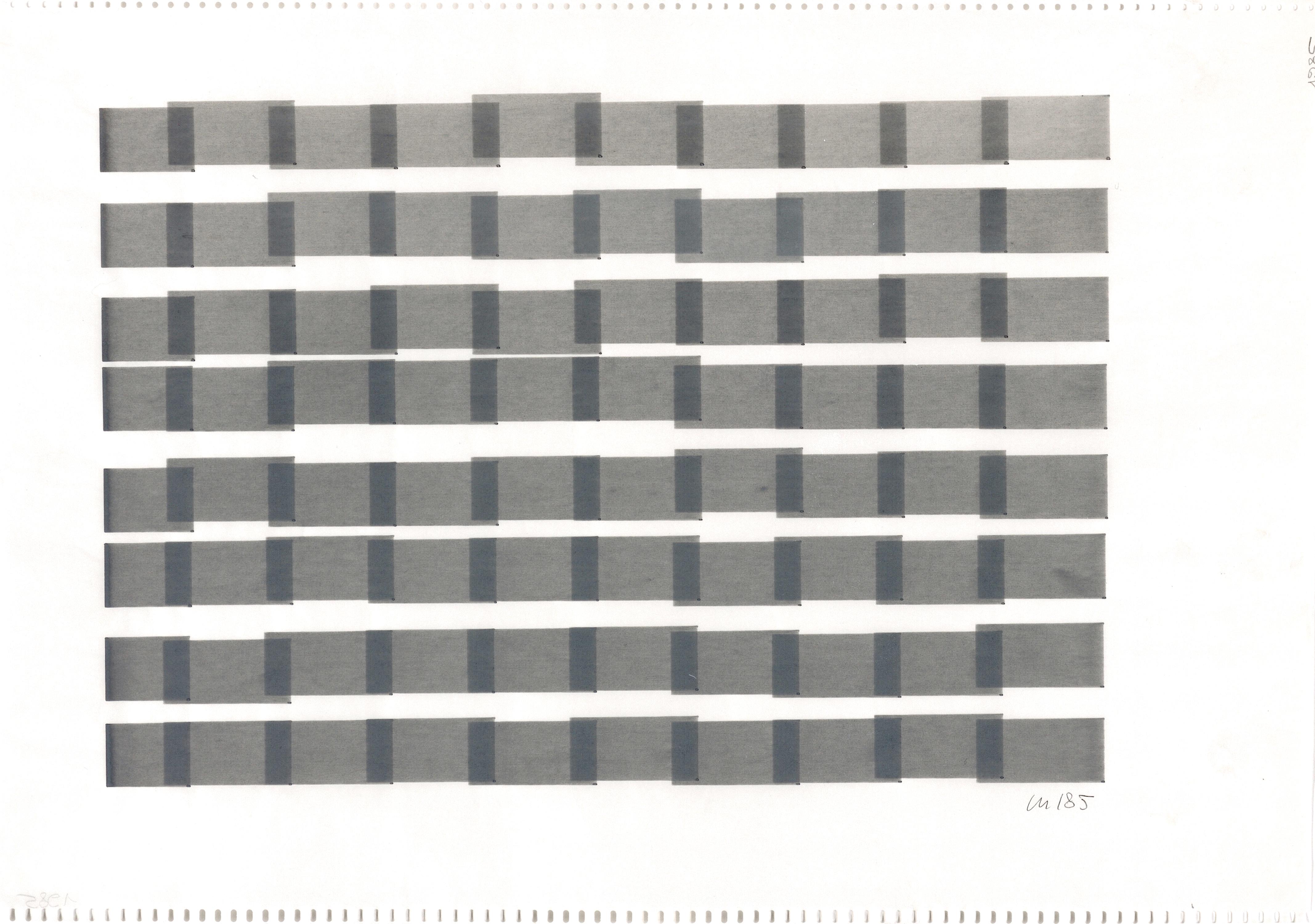 Vera Molnar, 8 Colonnes, 23 x 32 cm, plotter drawing, ink on paper, 1985