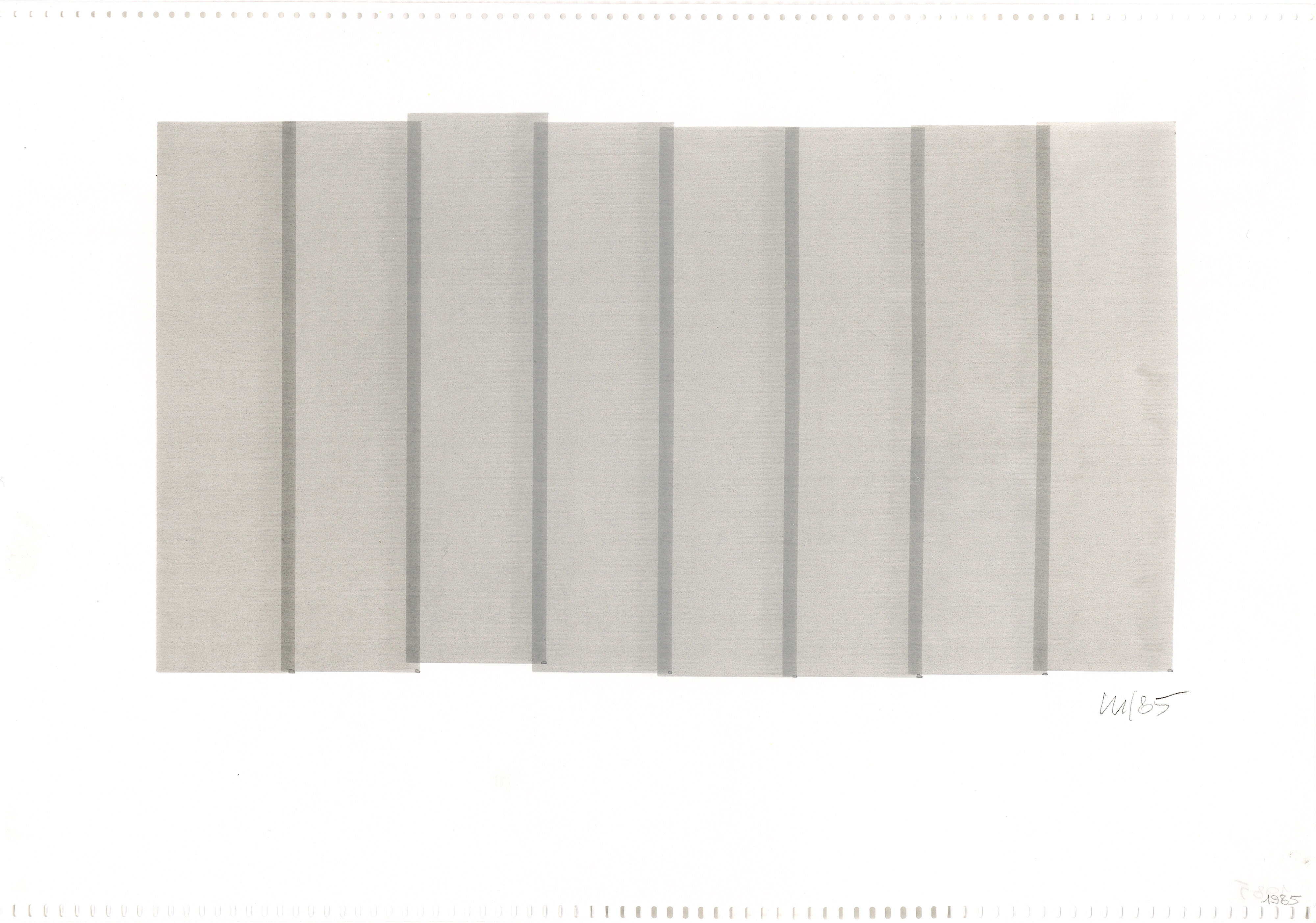 Vera Molnar, 8 Colonnes (vertical), 19 x 33, plotter drawing, ink on paper, 1985