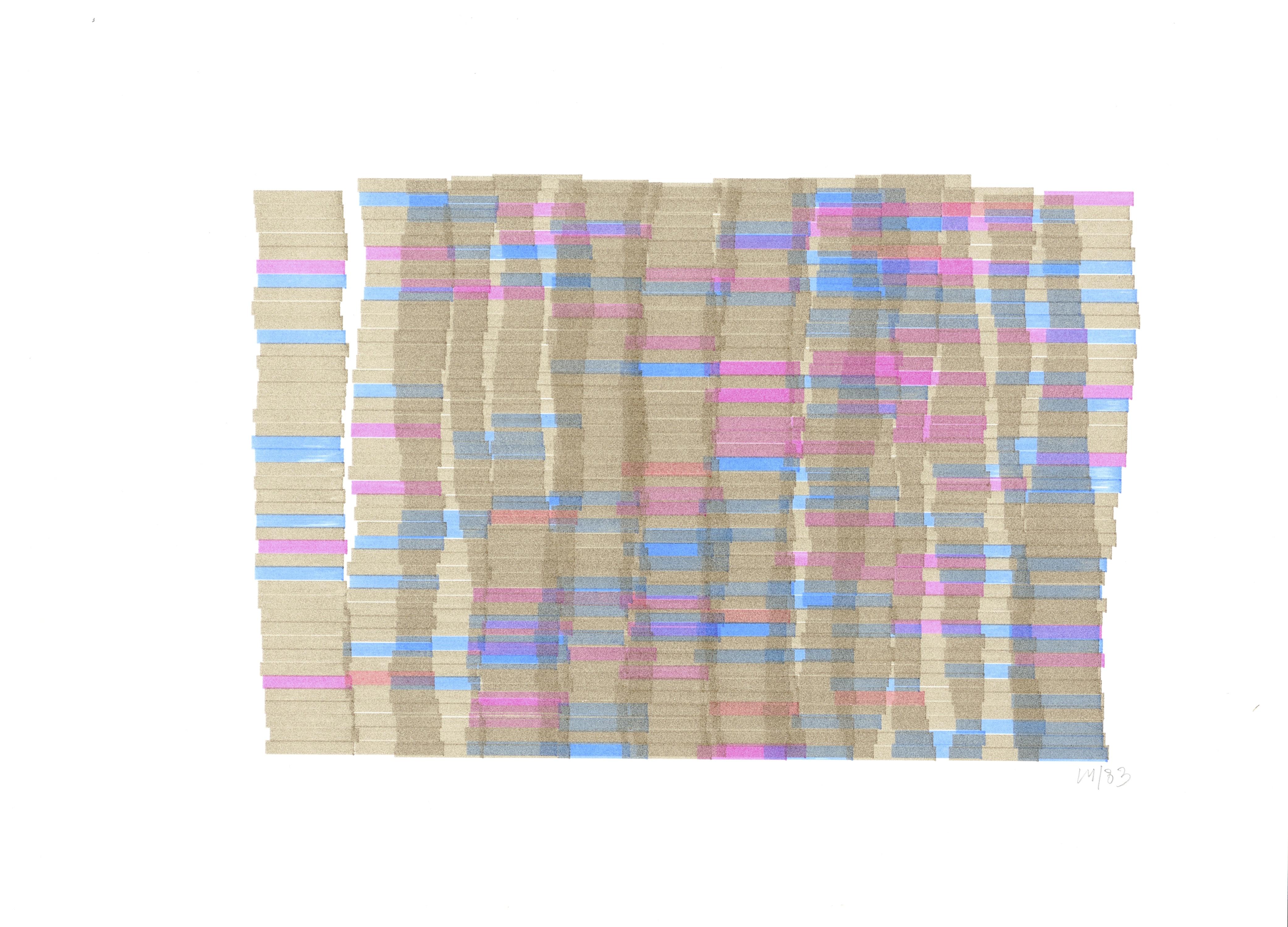 Vera Molnar, Hommage à Monet (étude), Plotterzeichnung, Tinte auf Papier, 20x 29 cm, 1983