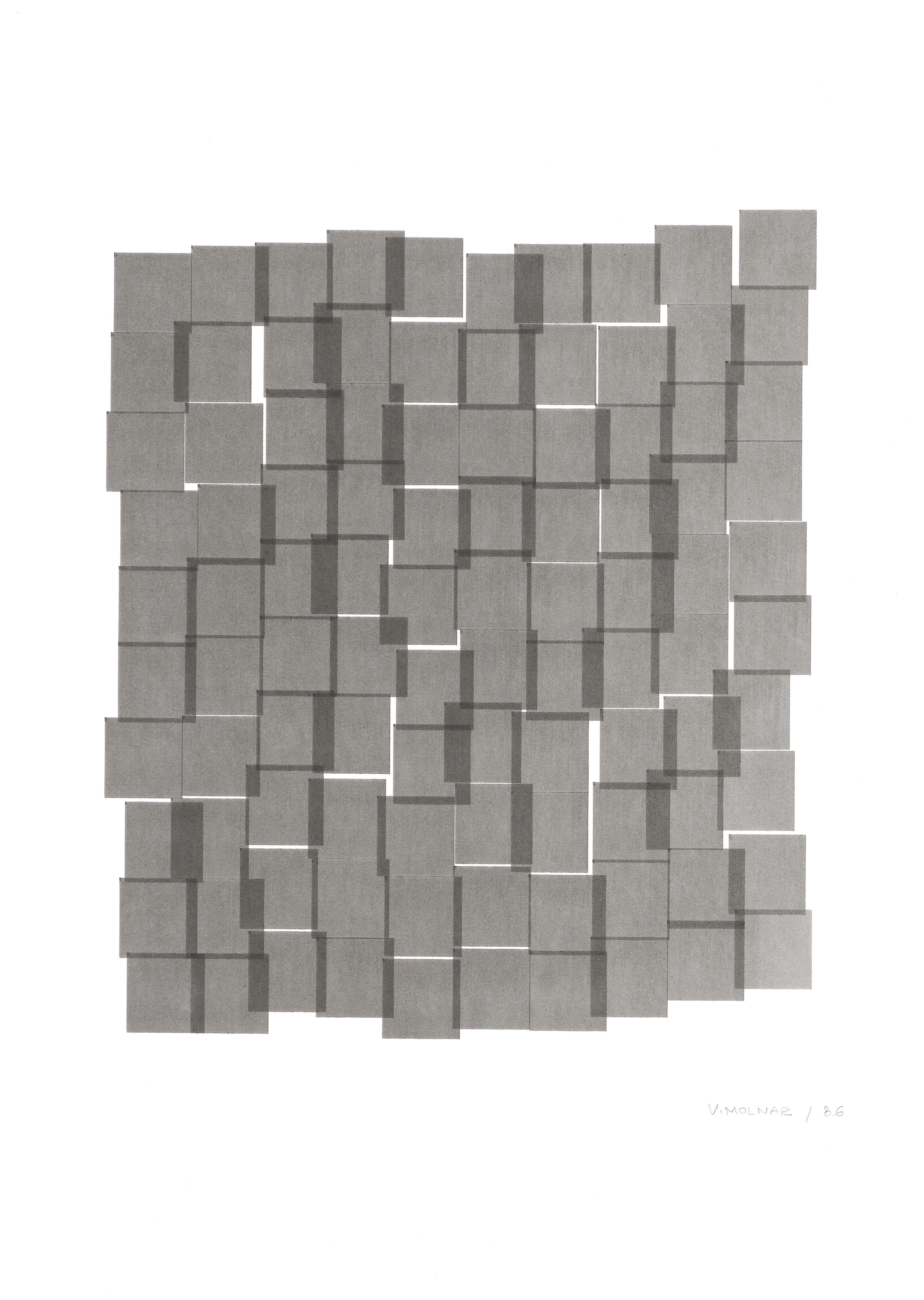 Vera Molnar, Interstices, plotter drawing, 26 x 22 cm, 1986