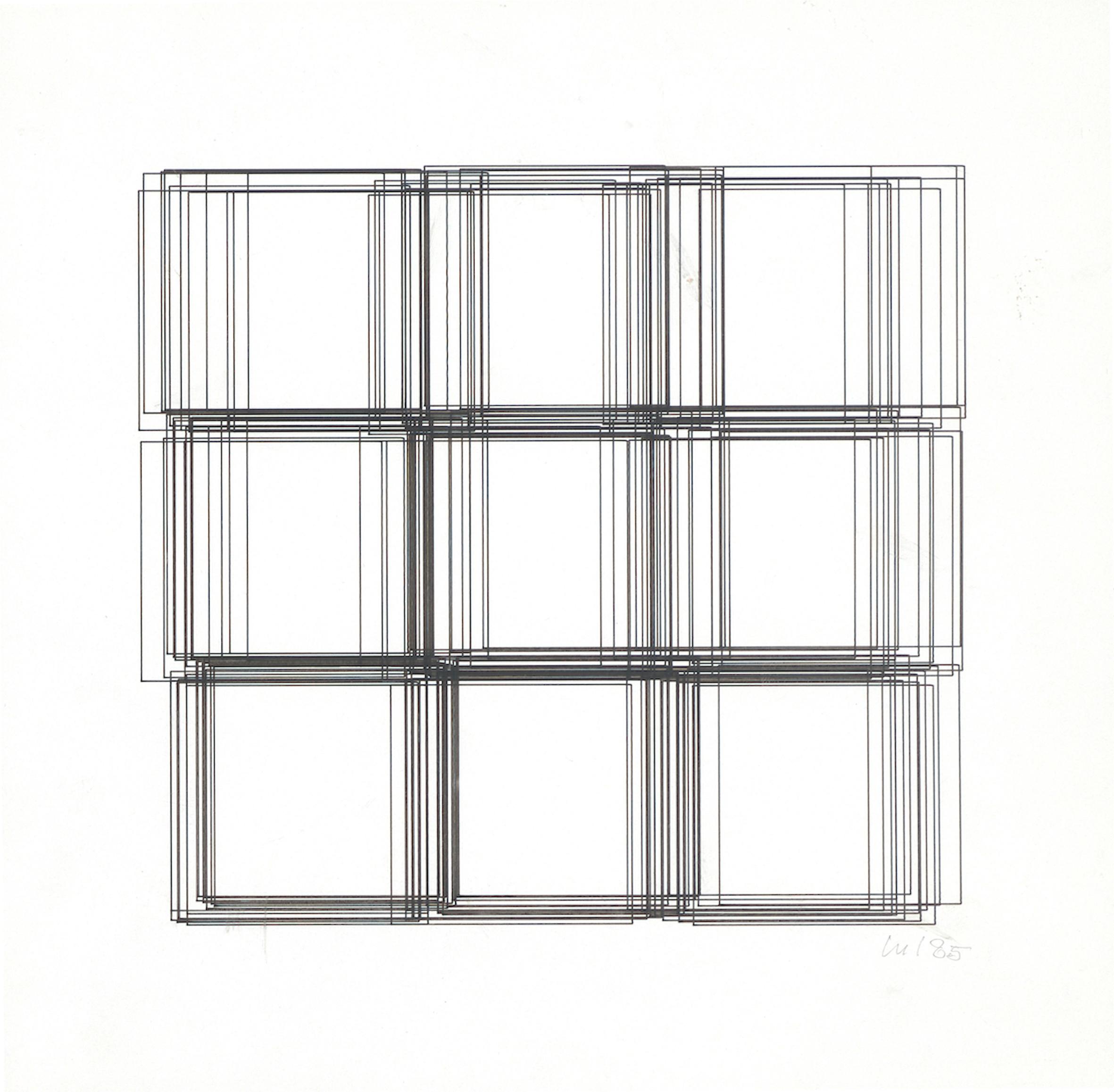Vera Molnar, Repentier, Plotterzeichnung, 22 x 23 cm, 1985