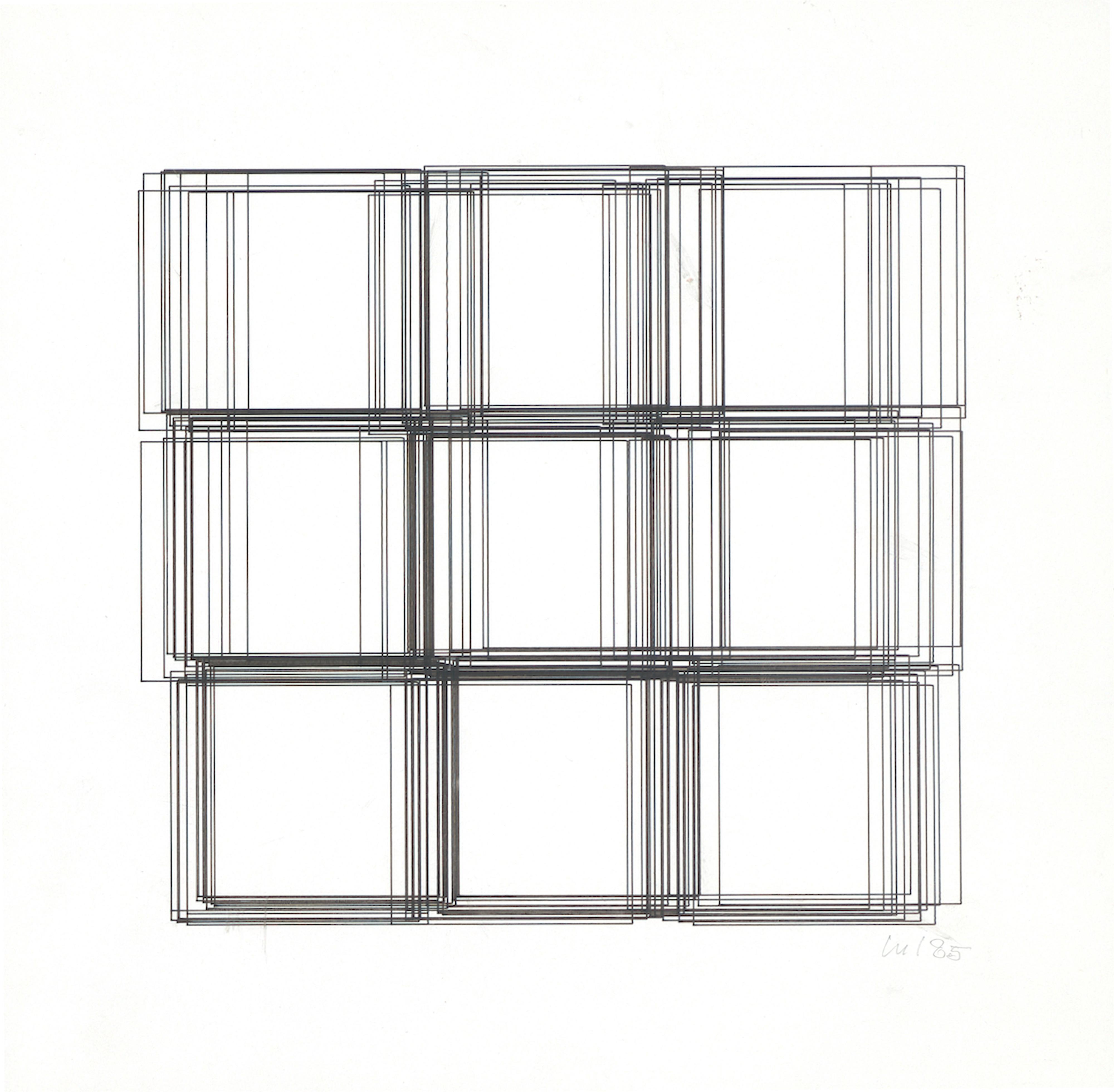 Vera Molnar, Repentier, Plotterzeichnung, Tinte auf Papier, 22 x 23 cm, 1985