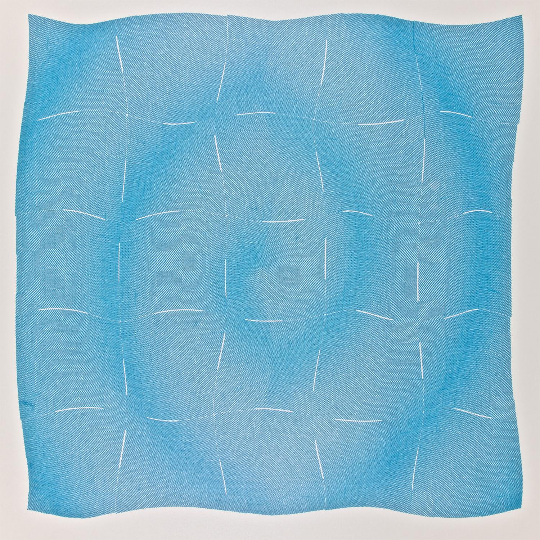 Jean-Pierre Hébert, Elliptic Spiral, Deep Blue, Plotterzeichnung, Tinte auf Papier, 52 x 52 cm, 1988
