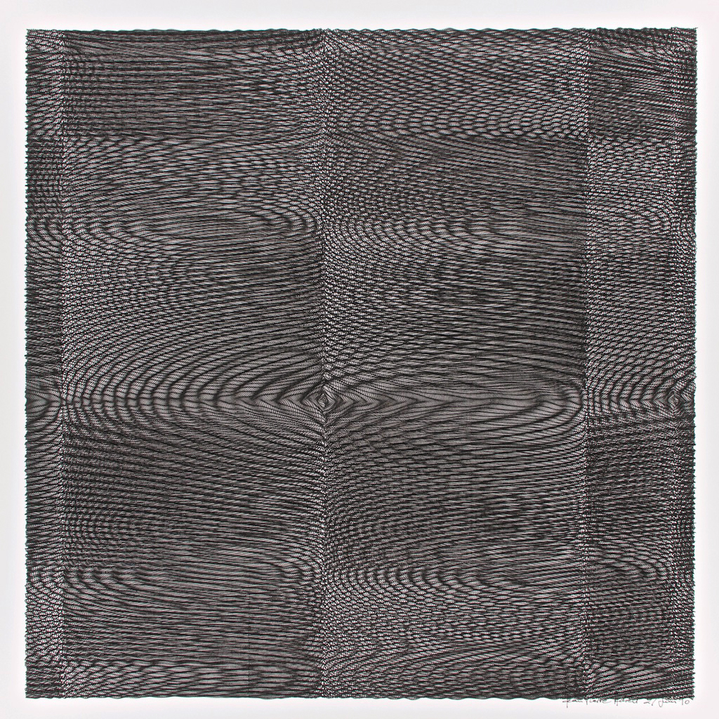 Jean-Pierre Hébert, Checkered Black Wavelets, plotter drawing, ink on paper, 51 x 51 cm, 1990