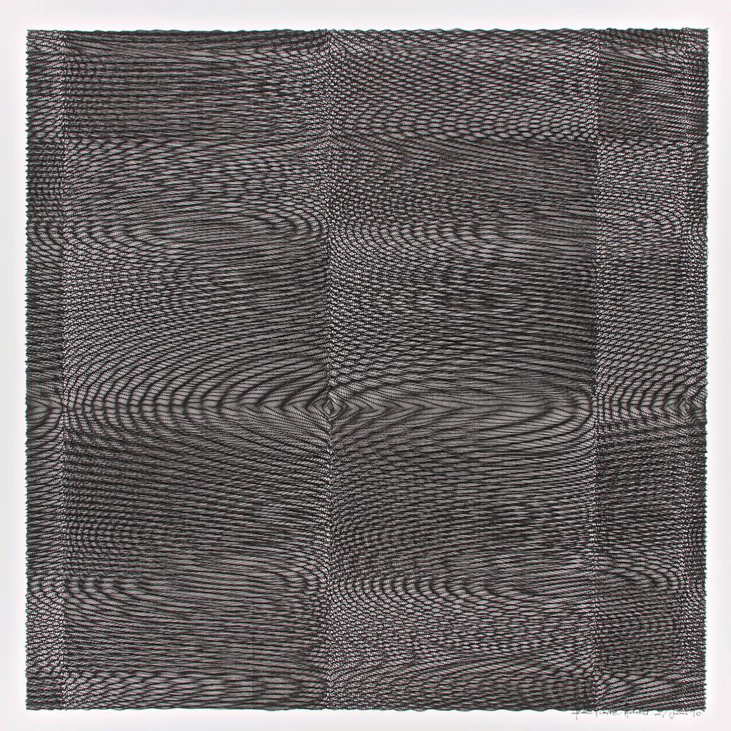 Jean-Pierre Hébert, Checkered Black Wavelets, Plotterzeichnung, Tinte auf Papier, 51 x 51 cm, 1990