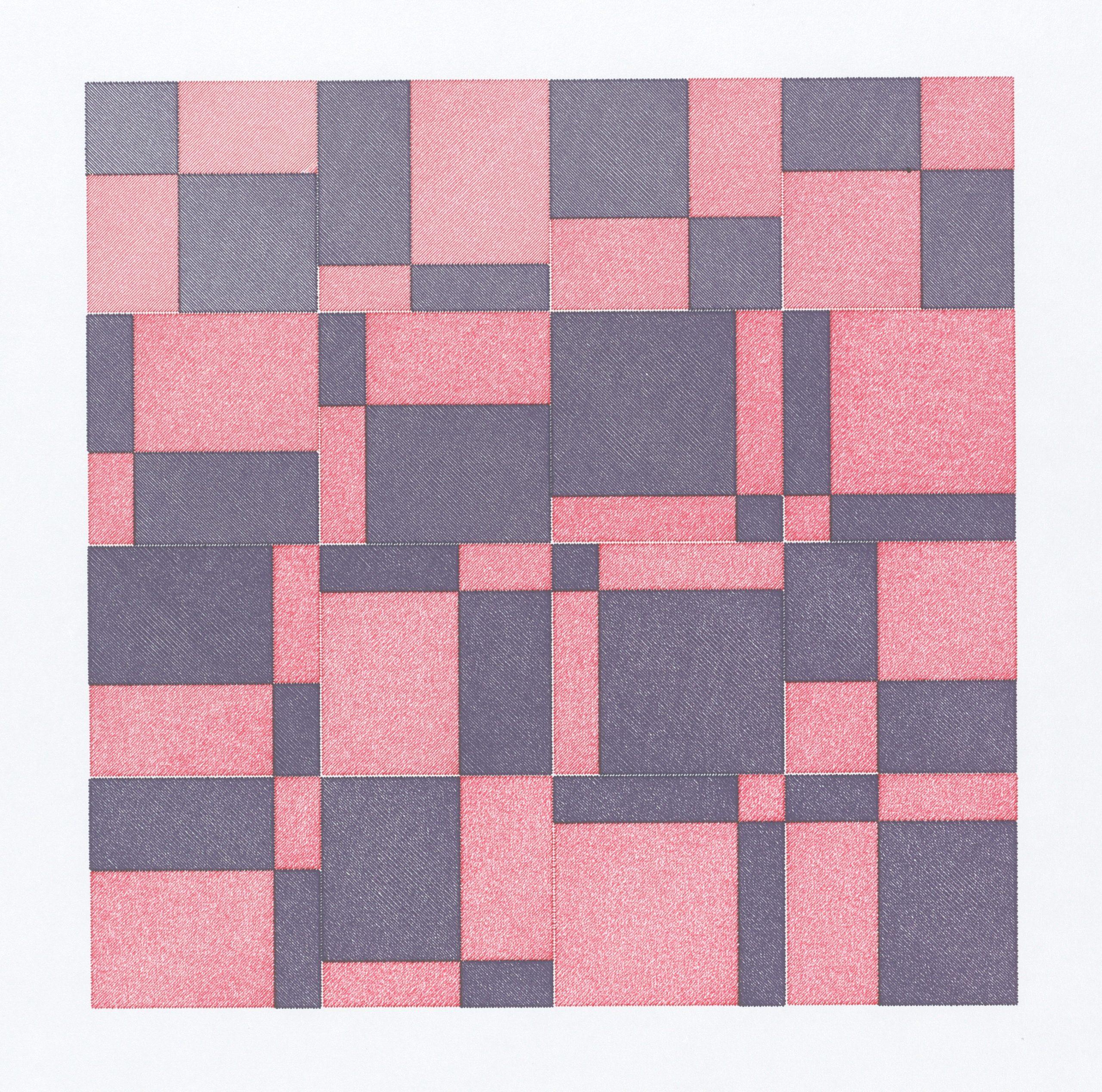 Peter Beyls, Untitled, Plotterzeichnung, Tinte auf Papier, 30 x 30 cm, 2007