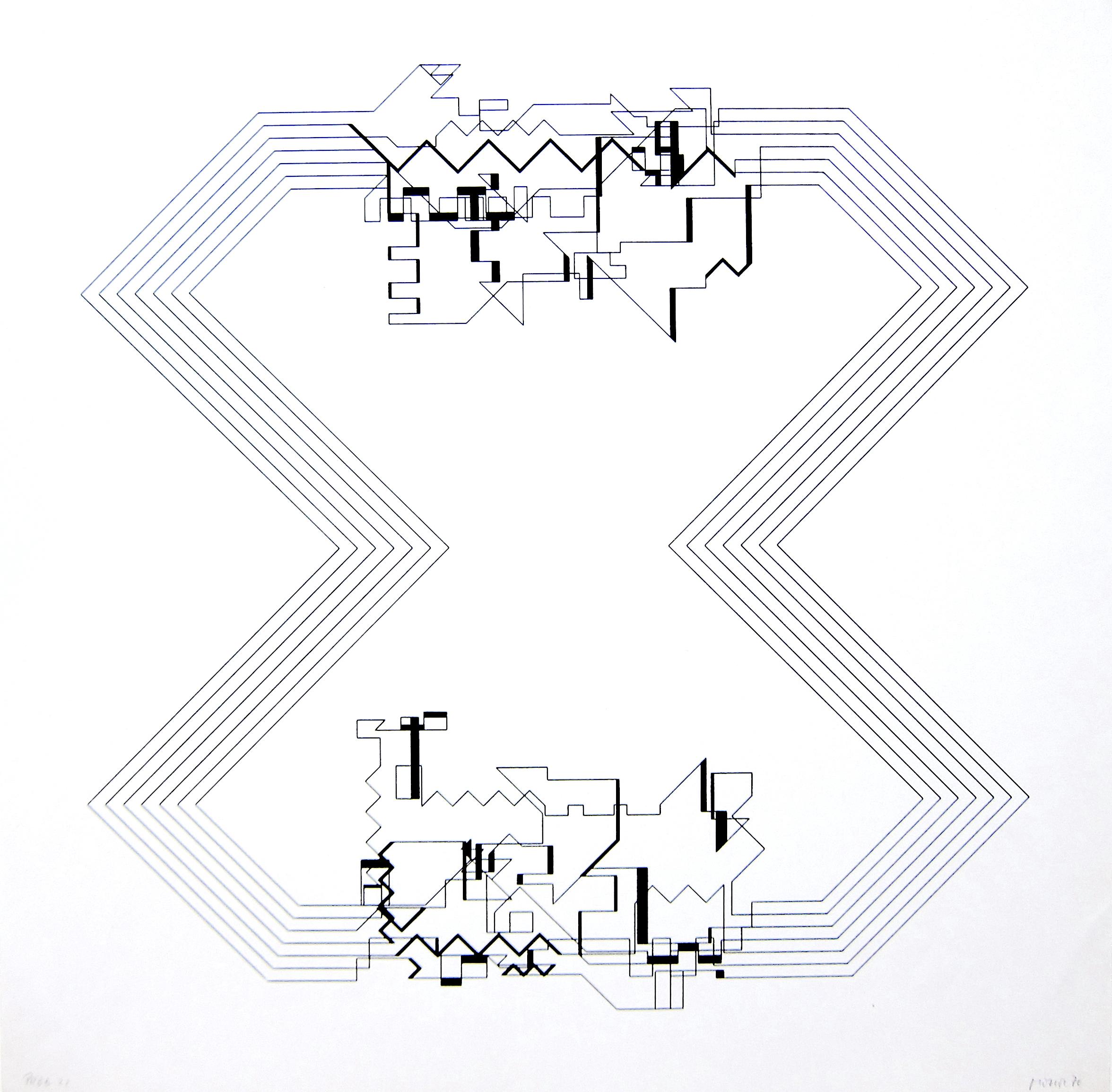 Manfred MohrP-22, Plotterzeichnung, Tinte auf Papier, 37 x 36 cm, 1970