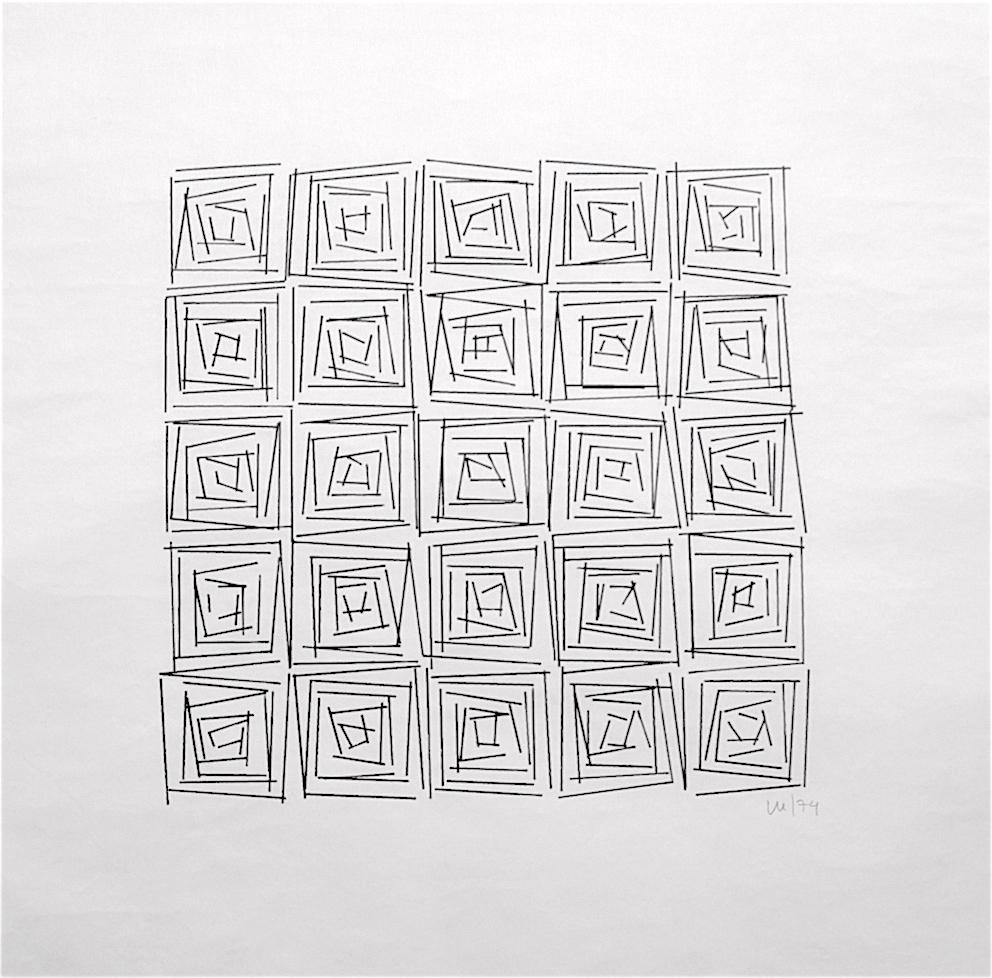 Vera Molnar, Ohne Titel, Plotterzeichnung, Tinte auf Papier, 20 x 20 cm, 1974