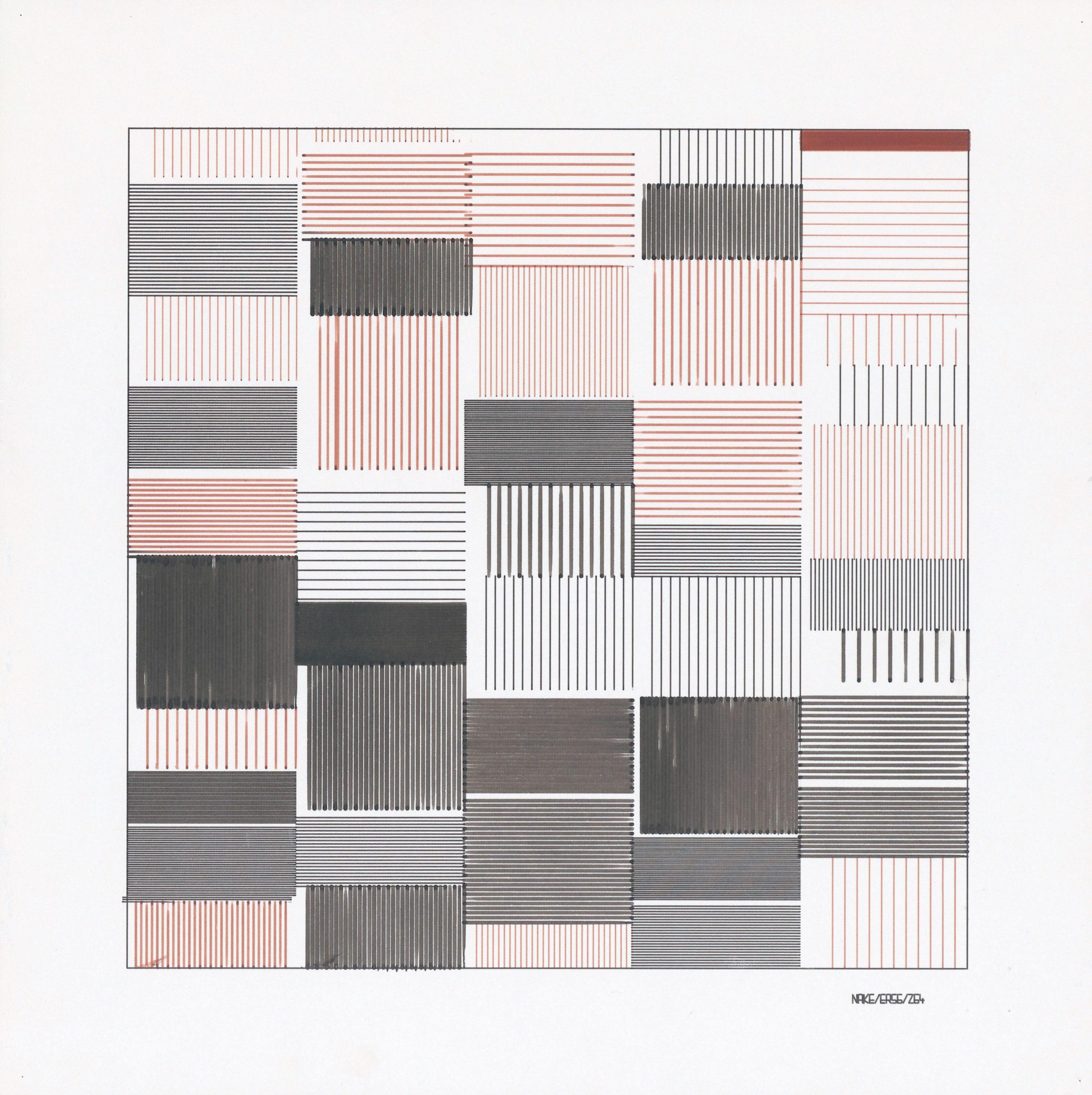 Frieder Nake, Ohne Titel, Plotterzeichnung, Tinte auf Papier, 30 x 30 cm, 1965