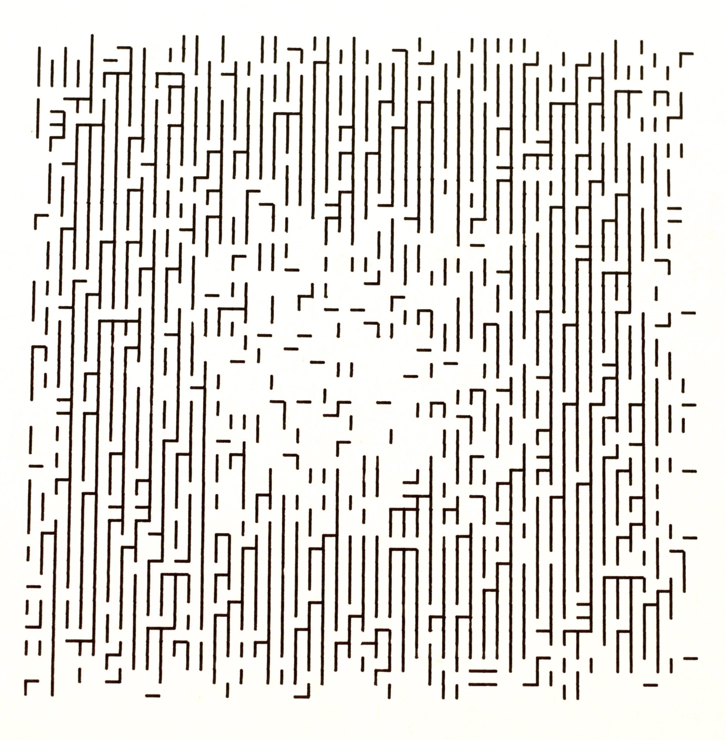 Frieder Nake, 4.11.66 Nr.1 Serie 2.1-6, Plotterzeichnung, Tinte auf Papier, 26 x 26 cm, 1966