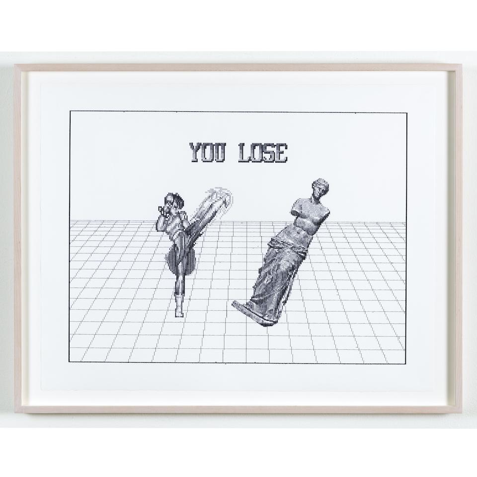 Arno Beck, Chun Li vs Venus, Edition von 5, Schreibmaschinenzeichnung auf Alt Burgund Papier, 53,5 x 60 cm, 2019