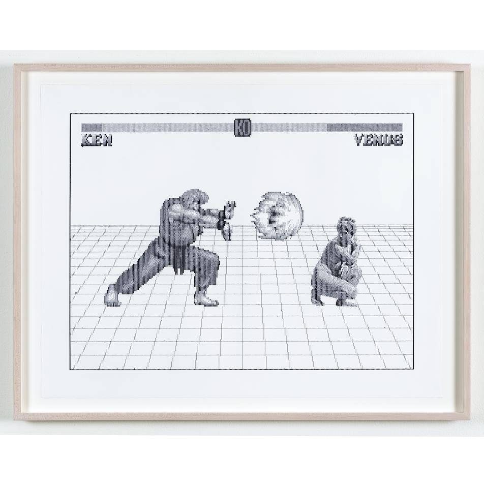 Arno Beck, Ken vs Venus, Edition von 5, Schreibmaschinenzeichnung auf Alt Burgund Papier, 53,5 x 60 cm, 2019