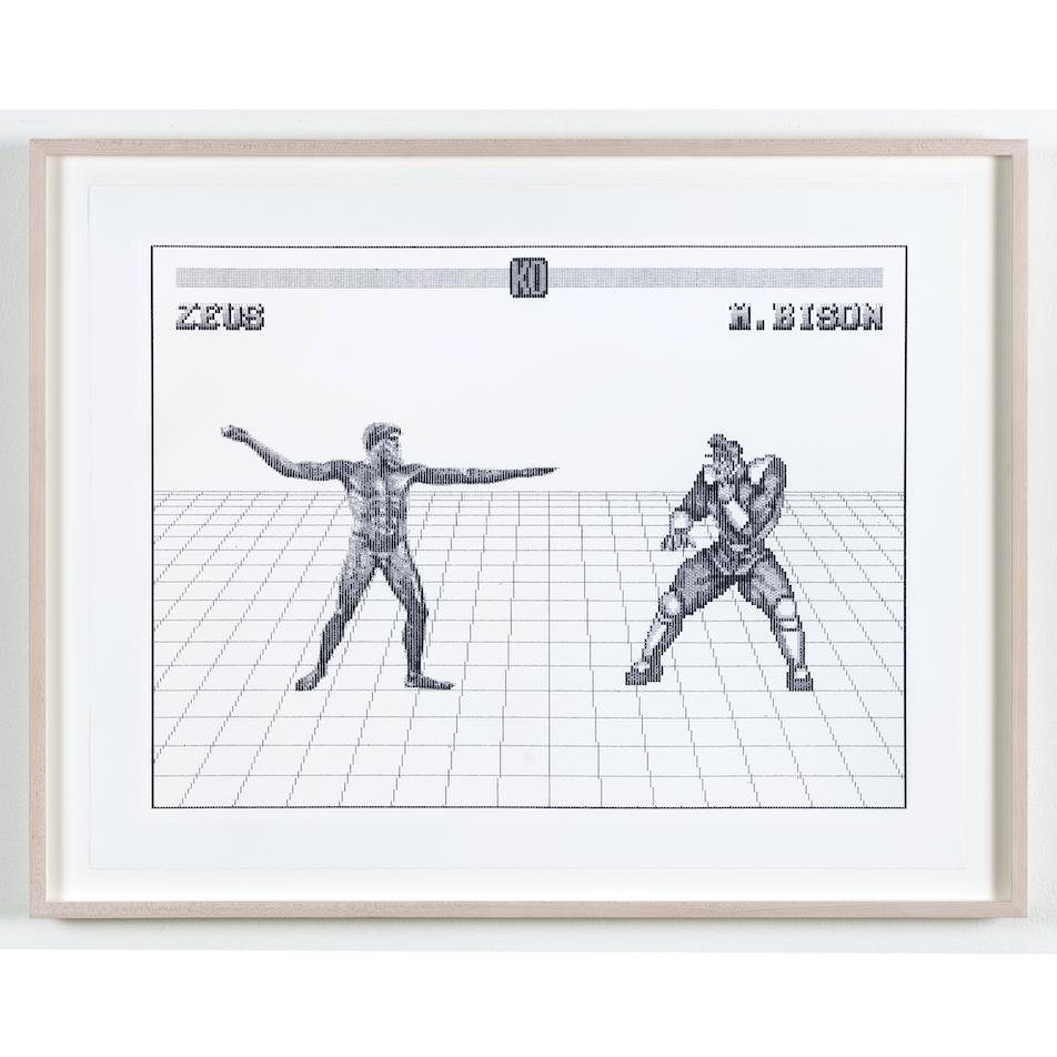 Arno Beck, Zeus vs M.Bison, Edition von 5, Schreibmaschinenzeichnung auf Alt Burgund Papier, 53,5 x 60 cm, 2019