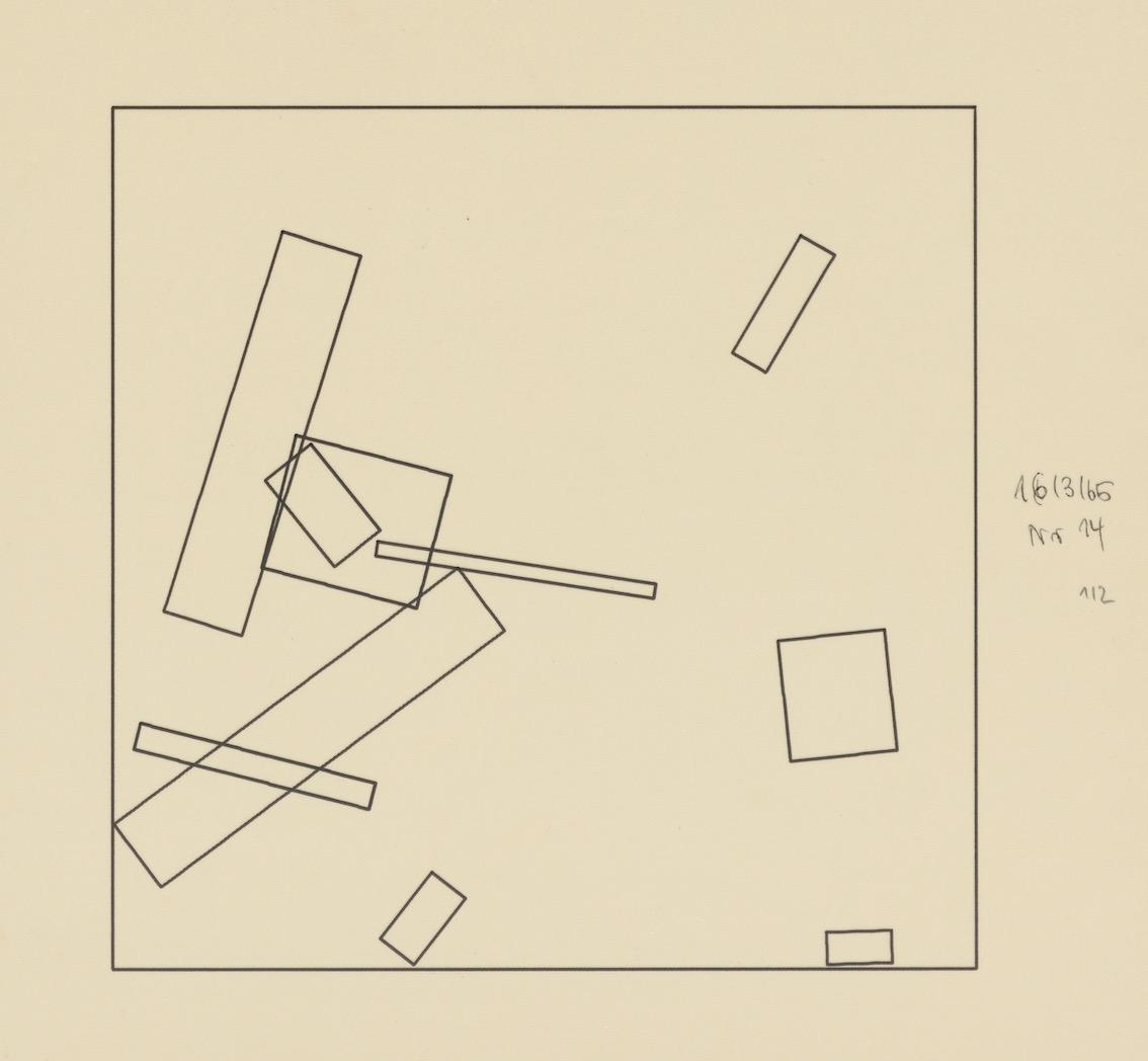 Frieder Nake, 16.03.65 Nr.14, Nr 1/2, Plotterzeichnung, Tinte auf Papier, 20 x 20 cm, 1965, Preis: 4 500 Euro