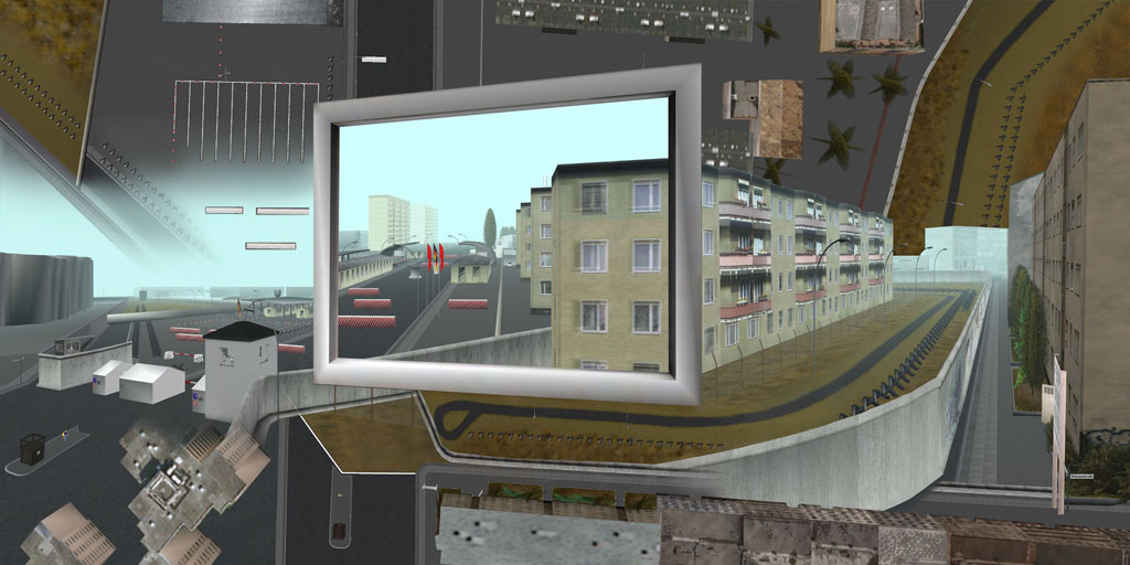 Tamiko Thiel, ReVisioning the Virtual Wall: Border Crossing Heinrich Heine Strasse West, Giclee-Druck, 140 x 70 cm auf Hahnemühle Baryta Papier, montiert auf Alu-Dibond, 2009