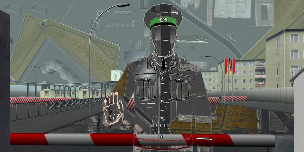 Tamiko Thiel, ReVisioning the Virtual Wall: Border Guard, Checkpoint Heinrich Heine Strasse, Giclee-Druck, 140 x 70 cm auf Hahnemühle Baryta Papier, montiert auf Alu-Dibond, 2009