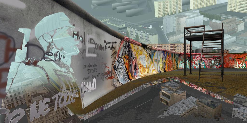 Tamiko Thiel, ReVisioning the Virtual Wall: Border Soldier, Luckauer Strasse, Giclee-Druck, 140 x 70 cm auf Hahnemühle Baryta Papier, montiert auf Alu-Dibond, 2009