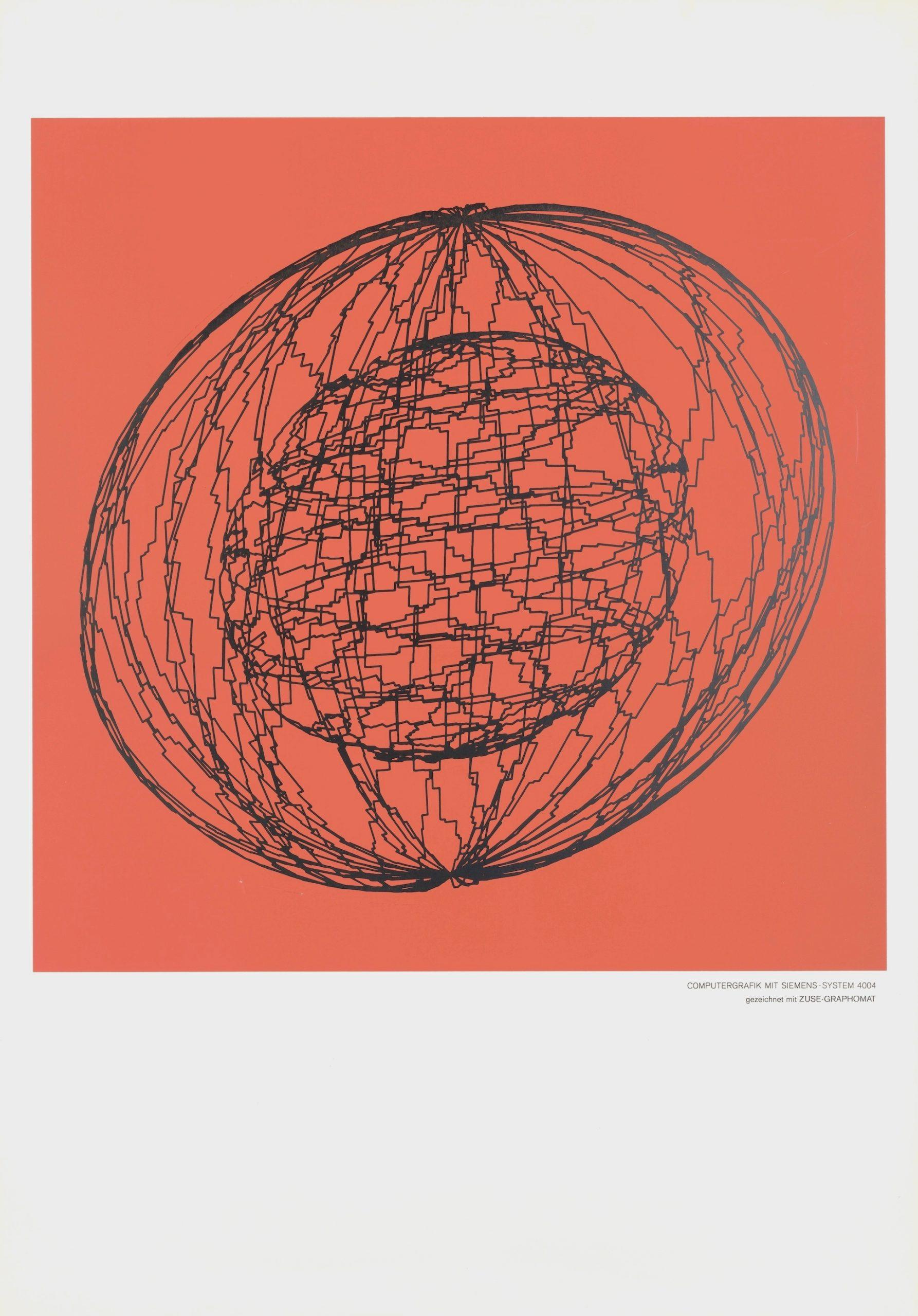 Georg Nees, ohne Titel, Siebdruck, 70 x 100 cm (Blattgröße), unlimitiert, 1965, Kratzer auf der linken Seite des roten Motivs, Preis: 1 500 Euro (P)