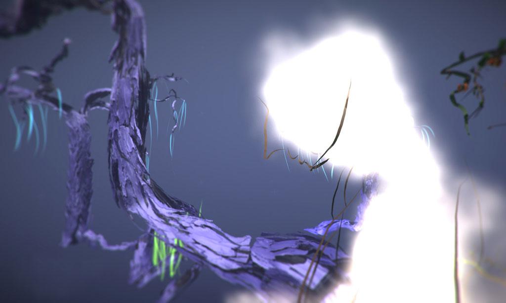 Tamiko Thiel, Land of Cloud: The Cloud Deities Speak (Detail), ein raumfüllendes VR-Erlebnis für HTC Vive oder Oculus Rift. Erstellt als Google Tilt Brush Artist in Residence, 2017-2018.