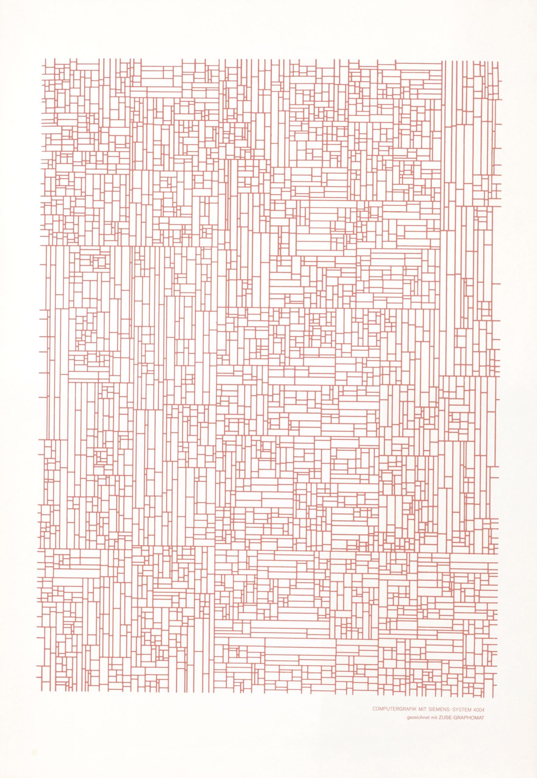 Georg Nees, ohne Titel, Siebdruck, 70 x 100 cm (Blattgröße), unlimitiert, 1965, Preis: 1 800 Euro (P)