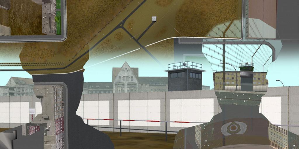 Tamiko Thiel, ReVisioning the Virtual Wall: Volkspolizei, East Wall, Giclee-Druck, 140 x 70 cm auf Hahnemühle Baryta Papier, montiert auf Alu-Dibond, 2009