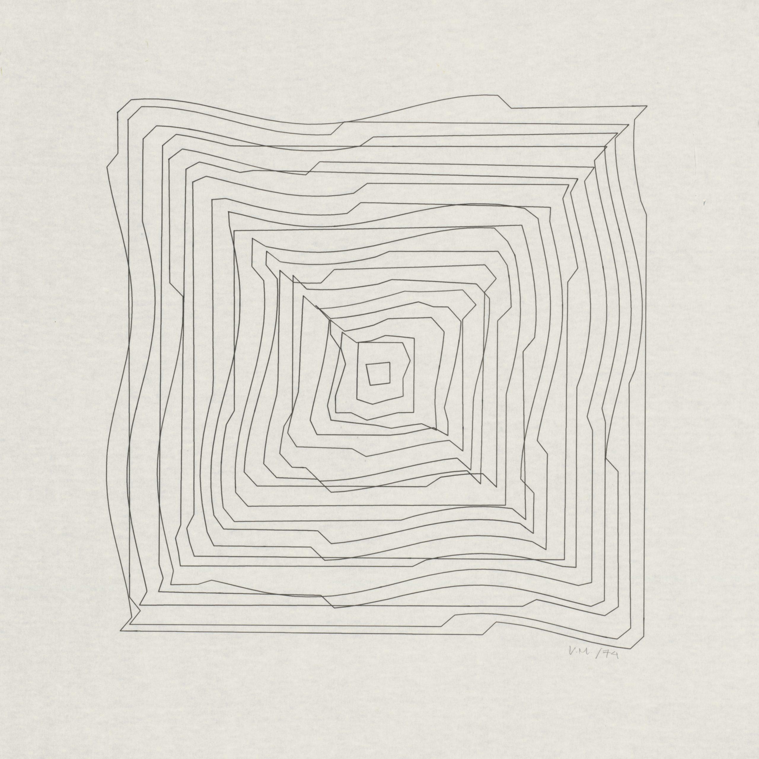 Vera Molnar, Hypertransformationen Serie, Plotterzeichnung, Tinte auf Papier, 40 x 40 cm, 1974, Preis: 15 000 Euro