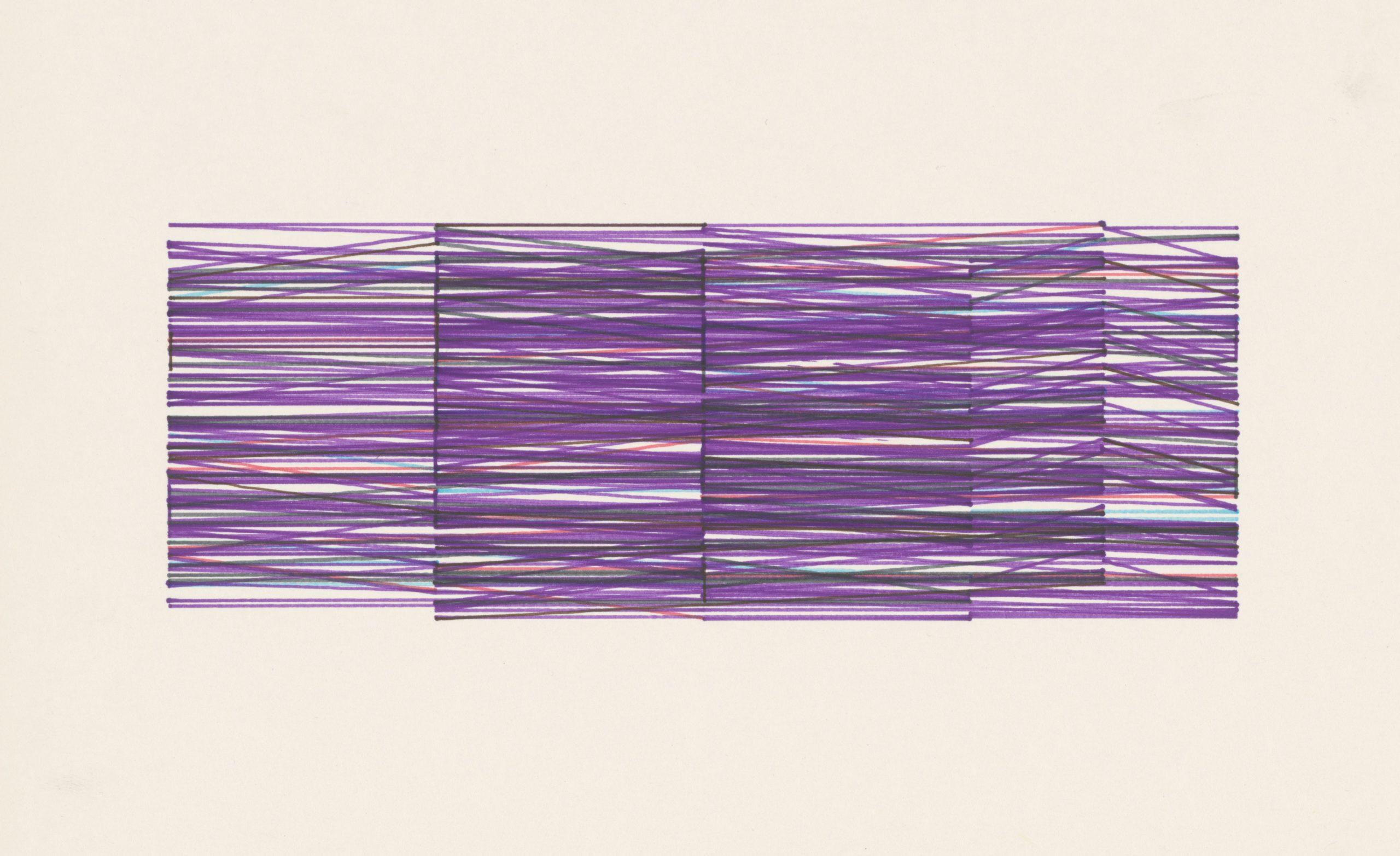 Vera Molnar, ABlottins, Plotterzeichnung, Tinte auf Papier, 8 x 26 cm, Preis: 7 000 Euro
